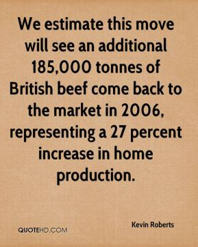 Kevin Roberts  - We estimate this move will see an additional 185,000 tonnes of British beef come back to the market in 2006, representing a 27 percent increase in home production.