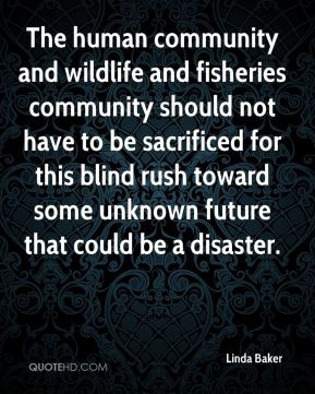Linda Baker  - The human community and wildlife and fisheries community should not have to be sacrificed for this blind rush toward some unknown future that could be a disaster.