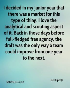I decided in my junior year that there was a market for this type of thing. I love the analytical and scouting aspect of it. Back in those days before full-fledged free agency, the draft was the only way a team could improve from one year to the next.