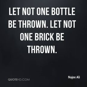 Let not one bottle be thrown. Let not one brick be thrown.