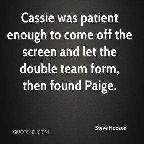 Cassie was patient enough to come off the screen and let the double team form, then found Paige.