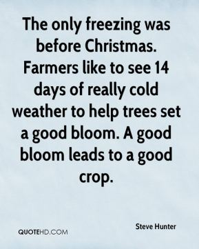 The only freezing was before Christmas. Farmers like to see 14 days of really cold weather to help trees set a good bloom. A good bloom leads to a good crop.