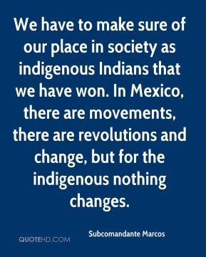 We have to make sure of our place in society as indigenous Indians that we have won. In Mexico, there are movements, there are revolutions and change, but for the indigenous nothing changes.