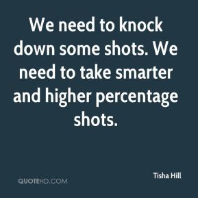 Tisha Hill  - We need to knock down some shots. We need to take smarter and higher percentage shots.