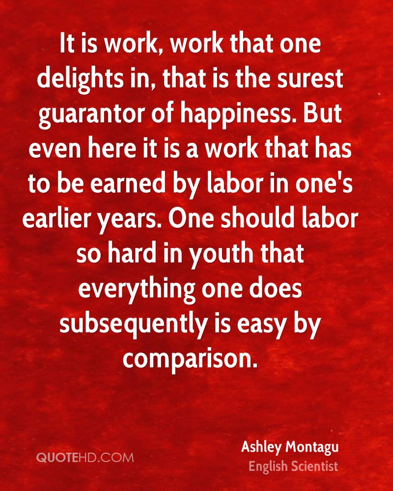 It is work, work that one delights in, that is the surest guarantor of happiness. But even here it is a work that has to be earned by labor in one's earlier years. One should labor so hard in youth that everything one does subsequently is easy by comparison.