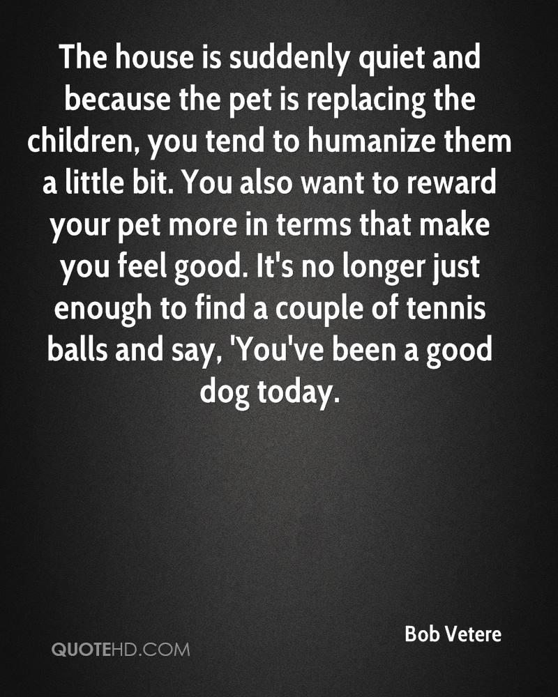 The house is suddenly quiet and because the pet is replacing the children, you tend to humanize them a little bit. You also want to reward your pet more in terms that make you feel good. It's no longer just enough to find a couple of tennis balls and say, 'You've been a good dog today.