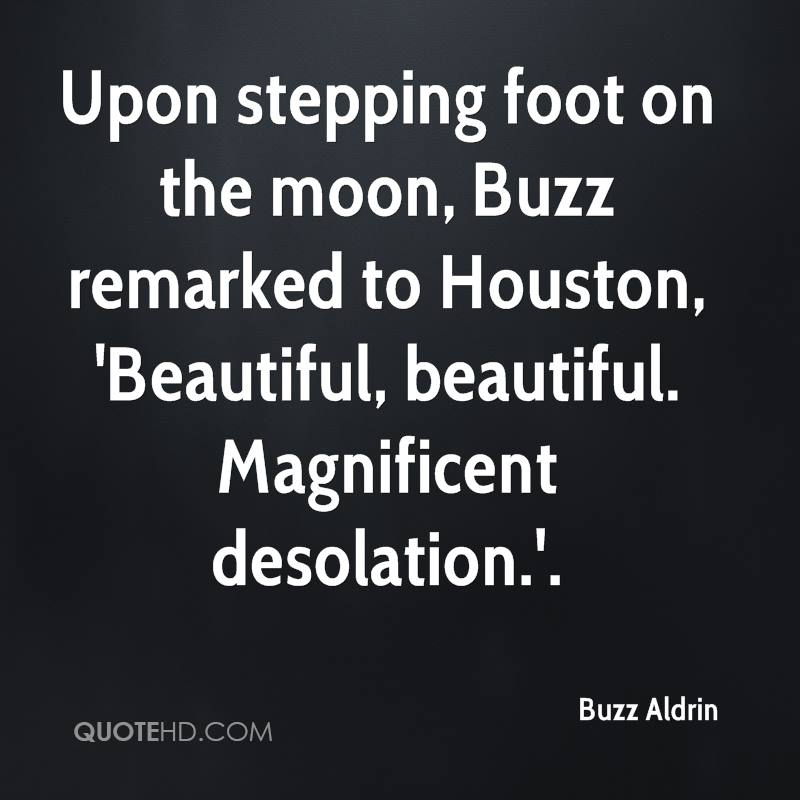 Upon stepping foot on the moon, Buzz remarked to Houston, 'Beautiful, beautiful. Magnificent desolation.'.