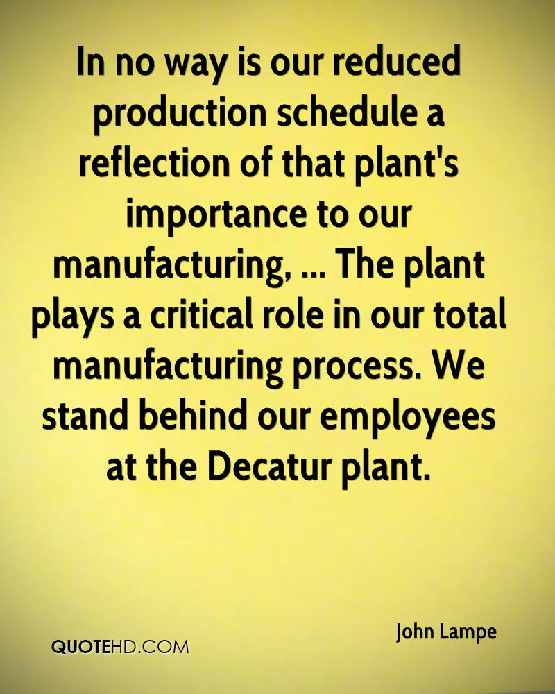 In no way is our reduced production schedule a reflection of that plant's importance to our manufacturing, ... The plant plays a critical role in our total manufacturing process. We stand behind our employees at the Decatur plant.