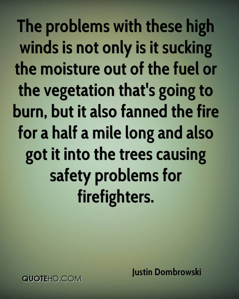 The problems with these high winds is not only is it sucking the moisture out of the fuel or the vegetation that's going to burn, but it also fanned the fire for a half a mile long and also got it into the trees causing safety problems for firefighters.
