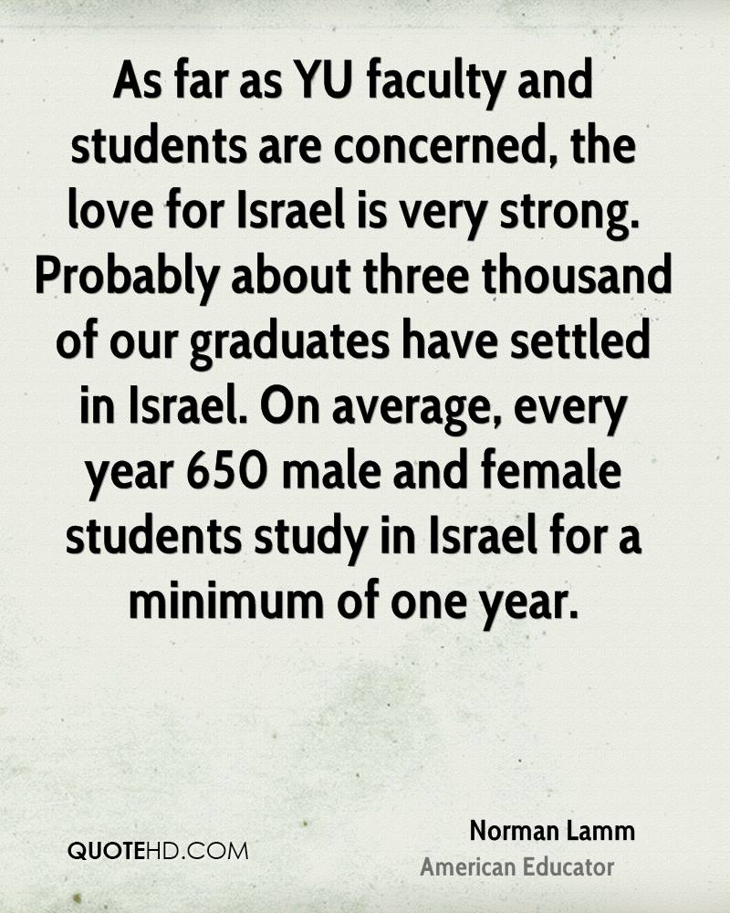 As far as YU faculty and students are concerned, the love for Israel is very strong. Probably about three thousand of our graduates have settled in Israel. On average, every year 650 male and female students study in Israel for a minimum of one year.