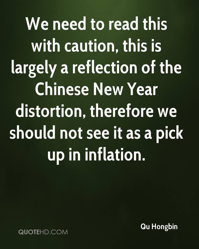 We need to read this with caution, this is largely a reflection of the Chinese New Year distortion, therefore we should not see it as a pick up in inflation.