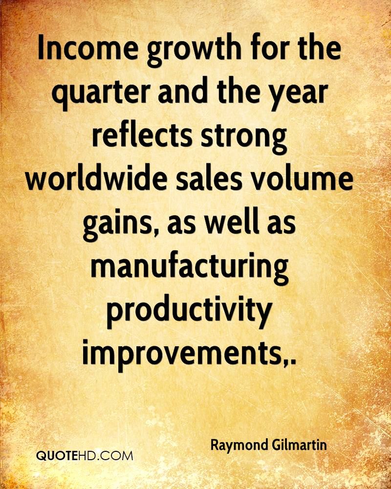 Income growth for the quarter and the year reflects strong worldwide sales volume gains, as well as manufacturing productivity improvements.