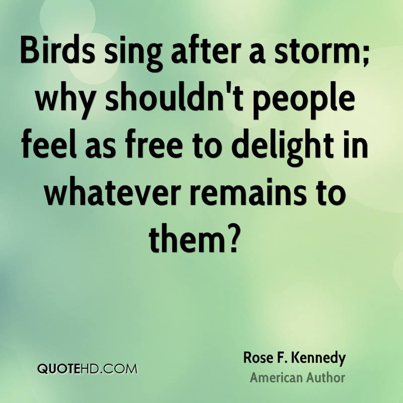 Birds sing after a storm; why shouldn't people feel as free to delight in whatever remains to them?