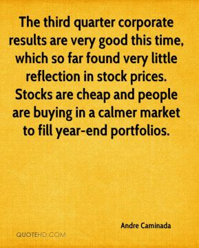 Andre Caminada - The third quarter corporate results are very good this time, which so far found very little reflection in stock prices. Stocks are cheap and people are buying in a calmer market to fill year-end portfolios.