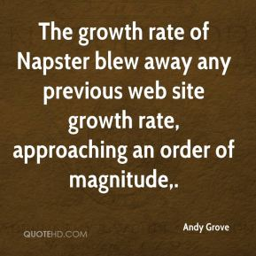 Andy Grove - The growth rate of Napster blew away any previous web site growth rate, approaching an order of magnitude.
