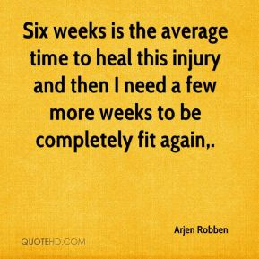 Six weeks is the average time to heal this injury and then I need a few more weeks to be completely fit again.