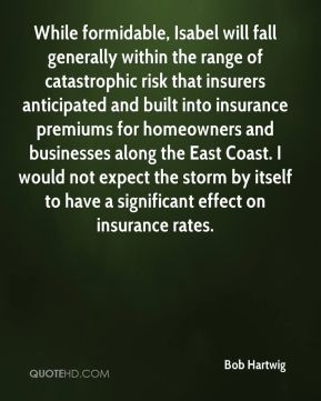 Bob Hartwig - While formidable, Isabel will fall generally within the range of catastrophic risk that insurers anticipated and built into insurance premiums for homeowners and businesses along the East Coast. I would not expect the storm by itself to have a significant effect on insurance rates.