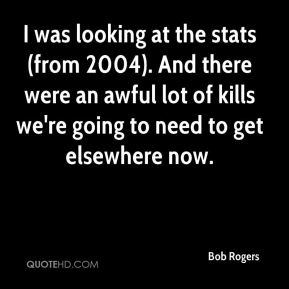 Bob Rogers - I was looking at the stats (from 2004). And there were an awful lot of kills we're going to need to get elsewhere now.