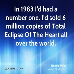 Bonnie Tyler - In 1983 I'd had a number one. I'd sold 6 million copies of Total Eclipse Of The Heart all over the world.