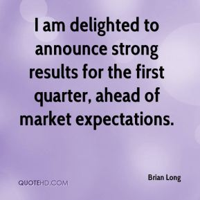 I am delighted to announce strong results for the first quarter, ahead of market expectations.