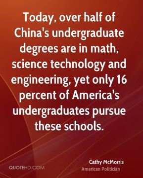 Cathy McMorris - Today, over half of China's undergraduate degrees are in math, science technology and engineering, yet only 16 percent of America's undergraduates pursue these schools.