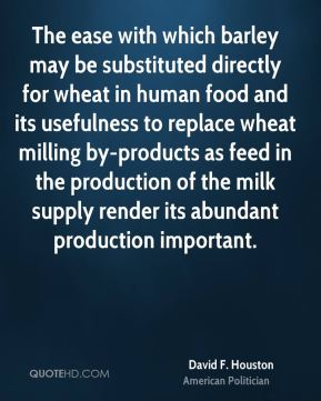 The ease with which barley may be substituted directly for wheat in human food and its usefulness to replace wheat milling by-products as feed in the production of the milk supply render its abundant production important.
