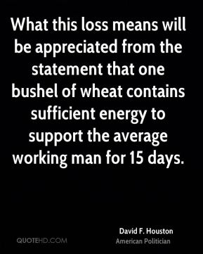 David F. Houston - What this loss means will be appreciated from the statement that one bushel of wheat contains sufficient energy to support the average working man for 15 days.