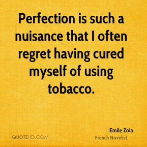 Emile Zola - Perfection is such a nuisance that I often regret having cured myself of using tobacco.