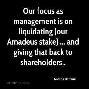 Our focus as management is on liquidating (our Amadeus stake) ... and giving that back to shareholders.