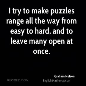 Graham Nelson - I try to make puzzles range all the way from easy to hard, and to leave many open at once.
