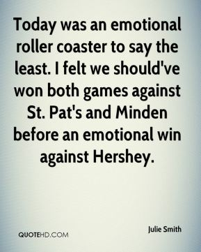 Today was an emotional roller coaster to say the least. I felt we should've won both games against St. Pat's and Minden before an emotional win against Hershey.