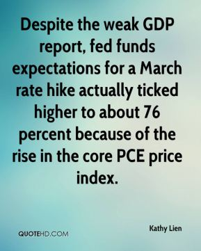 Kathy Lien  - Despite the weak GDP report, fed funds expectations for a March rate hike actually ticked higher to about 76 percent because of the rise in the core PCE price index.