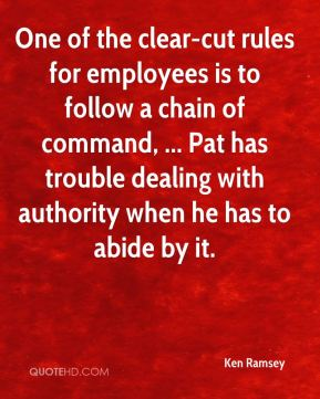 Ken Ramsey  - One of the clear-cut rules for employees is to follow a chain of command, ... Pat has trouble dealing with authority when he has to abide by it.