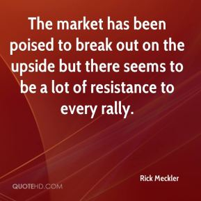 Rick Meckler  - The market has been poised to break out on the upside but there seems to be a lot of resistance to every rally.