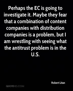 Robert Litan  - Perhaps the EC is going to investigate it. Maybe they fear that a combination of content companies with distribution companies is a problem, but I am wrestling with seeing what the antitrust problem is in the U.S.