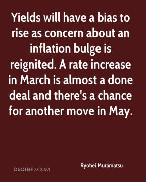 Ryohei Muramatsu  - Yields will have a bias to rise as concern about an inflation bulge is reignited. A rate increase in March is almost a done deal and there's a chance for another move in May.