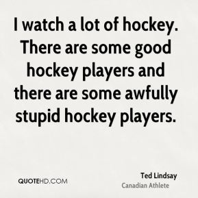 I watch a lot of hockey. There are some good hockey players and there are some awfully stupid hockey players.
