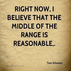 Tom Schoewe  - Right now, I believe that the middle of the range is reasonable.