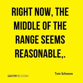 Tom Schoewe  - Right now, the middle of the range seems reasonable.