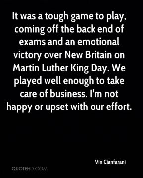 It was a tough game to play, coming off the back end of exams and an emotional victory over New Britain on Martin Luther King Day. We played well enough to take care of business. I'm not happy or upset with our effort.