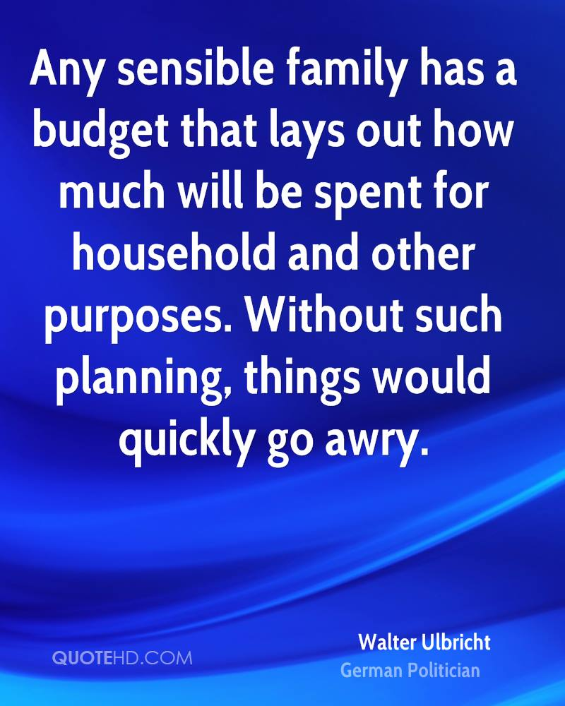 Any sensible family has a budget that lays out how much will be spent for household and other purposes. Without such planning, things would quickly go awry.