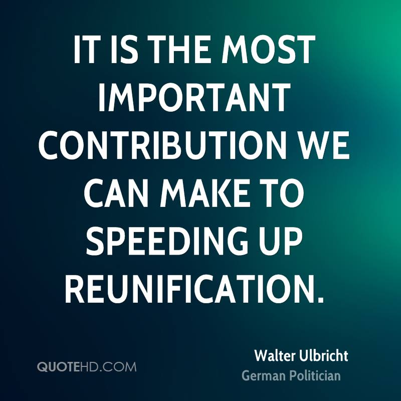 It is the most important contribution we can make to speeding up reunification.