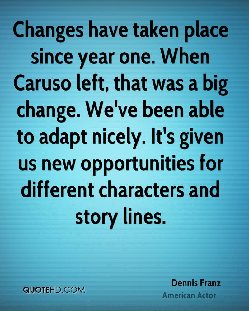 Changes have taken place since year one. When Caruso left, that was a big change. We've been able to adapt nicely. It's given us new opportunities for different characters and story lines.