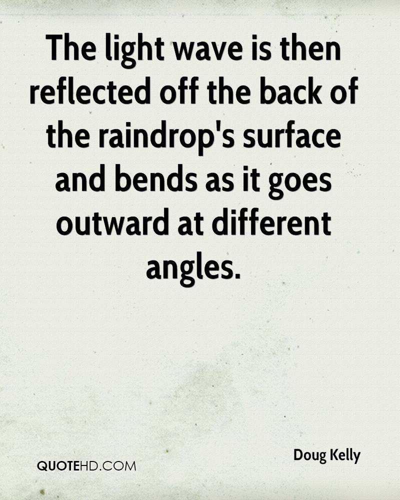 The light wave is then reflected off the back of the raindrop's surface and bends as it goes outward at different angles.