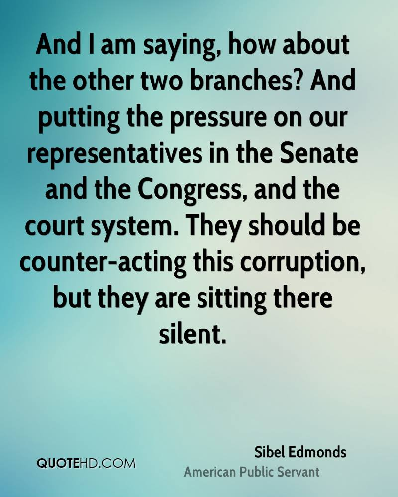 And I am saying, how about the other two branches? And putting the pressure on our representatives in the Senate and the Congress, and the court system. They should be counter-acting this corruption, but they are sitting there silent.