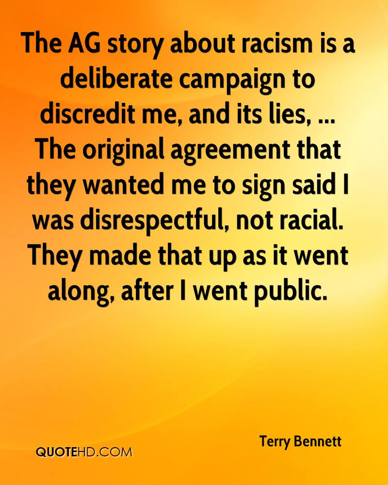 Quotes On Racism Terry Bennett Quotes  Quotehd