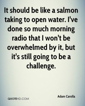 Adam Carolla - It should be like a salmon taking to open water. I've done so much morning radio that I won't be overwhelmed by it, but it's still going to be a challenge.