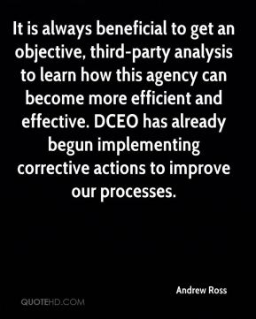 Andrew Ross - It is always beneficial to get an objective, third-party analysis to learn how this agency can become more efficient and effective. DCEO has already begun implementing corrective actions to improve our processes.