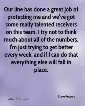 Our line has done a great job of protecting me and we've got some really talented receivers on this team. I try not to think much about all of the numbers. I'm just trying to get better every week, and if I can do that everything else will fall in place.