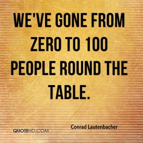 Conrad Lautenbacher - We've gone from zero to 100 people round the table.